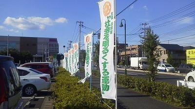 本日の市役所前、選挙に行こうのぼり旗も市内につけて欲しかった