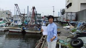 今日は船橋漁港で水質調査。それをグラフにして解説する仕事です。