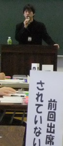 講師の景山さん、アメリカ留学中に3.11の支援に関わり、この道に入ったという強者